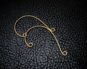 Ear Cuff, ear wire, ear wrap, ear jacket, earring component, ear climber, Simple Drop Blank, beading supply, gold plate