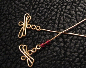 Dragonfly Headpin, eyepin, fancy headpin, fancy eyepin, jewelry findings, beading supplies, jewelry supplies, dragonfly charm, 4pc 20g wire