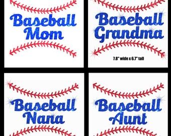 Baseball Mom Grandma Nana Sister Aunt iron on glitter transfer applique bling patch