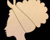Afro Lady Bandana B Natural Craft Wood Cutout 1796