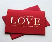 Letterpress Valentine card - So Much Love