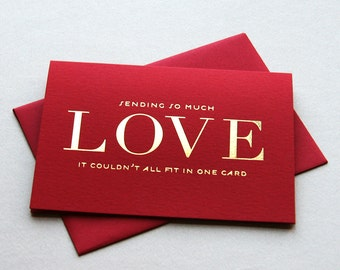 Gold Foil Valentine card - So Much Love