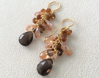 Semiprecious Gemstone Cluster Earrings in Gold Vermeil with Smoky Quartz, Mystic Grapefruit Topaz, Peach Zircon and Petrol Tourmaline