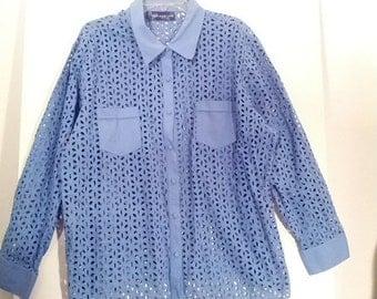 SALE blue cotton 'cut out' shirt blouse mod hippie boho xl plus size