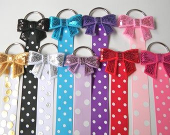 Sequin Bow Hair Bow Holder - Hair Clip Holder - Barrette Holder with Polka Dotted Ribbon - bow holder - party favors
