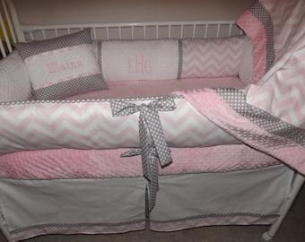 Pink crib sheet minky dot only