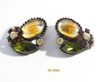 FREE SHIP Exquisite Yellow And Green Rhinestone Earrings (4-4964)