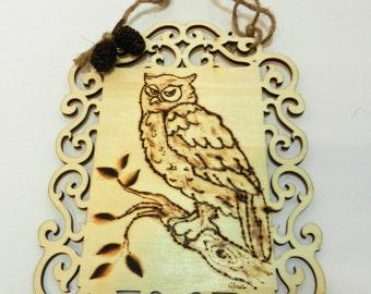 Owl Wood Burnt Wall Hanging