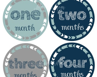 FREE GIFT, Monthly Baby Boy Stickers, Month Baby Boy Stickers, Arrows,  Baby Stickers, Navy, Blue, Gray, Grey, Tribal Nursery Decor