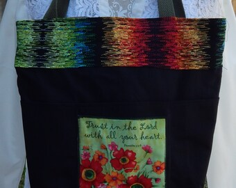 Handmade Tote, Proverbs 3:5-6 Bible Bag, Fabric Handbag, Christian Tote, Bllack and Colorful Fabric Tote,Jesus Bag, Colorful Flower Applique