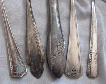 Assorted Pattern Silver Plate 5 Piece Place Setting - Teaspoon Tablespoon Dinner Salad Fork Knife (#10A)
