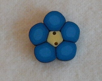 Blue Flower Polymer Clay Button