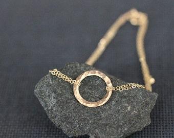 hammered circle bracelet, gold circle bracelet, silver circle bracelet, two chain, karma bracelet, delicate dainty, B01