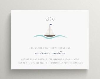 sailboat baby shower invitation set // birthday invitation // boat // sailing // watercolor effect // blue // sailor