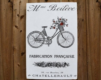 JULY SALE FLORIST Bike with Roses - 24x36 - salvaged wood - Home Decor - RuPiper Designs Original Design