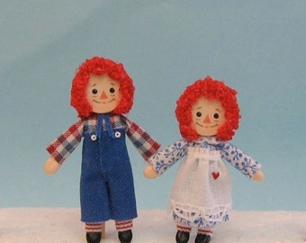 """Raggedy Ann and Andy 1/4"""" and 1"""" scale dolls -  plus 2 free dollhouse kits"""