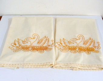 Vintage Handmade Pillowcases Embroidery Swans