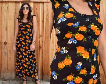 Vintage 70s FLORAL Hippie BOHO MAXI Dress Xs
