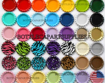 50 FLAT Color Mix Bottle Caps Double Sided Painted Linerless Brand New Flattened Caps, You Choose the Colors