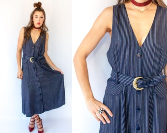 Navy Blue Pinstripe Jumper Dress 80's Vintage Menswear Maxi Dress / Deep V + Deep Armhole Vested Dress
