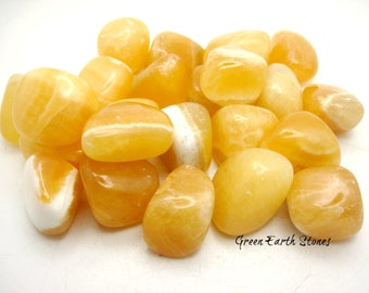 One Orange Calcite Tumbled Stone, Rock Hound, Crystal Healing, Stones, Feng Shui,