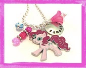 Pinky Pie Necklace - Personalized Charm Necklace for Girls My Little Pony - Hand Stamped Custom Necklace Jewelry #Q22