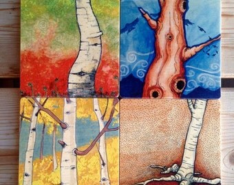 My Favorite Trees wooden coaster set