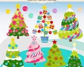 ON SALE Christmas clip art, Christmas tree clip art,christmas decoration clip art, pink christmas clip art, christmas girl clipart, instant