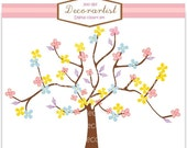 ON SALE Tree clip art, colour tree and butterflies1, tree, flowers, butterfly, INSTANT Download