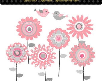 ON SALE clipart, flowers digital clip art, Happy Flowers 6, Download and print png/jpg File, pink and gray flowers,INSTANT Download