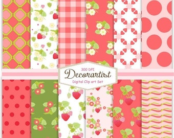ON SALE digital paper , paper pack , Scrapbook paper, no.99 Summer Strawberry, scrapbooking, card, 12 digital sheets, instant download