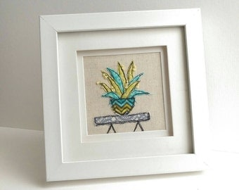Cactus Freehand Machine Embroidery Framed picture