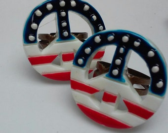 NEW.....Peace Sign Ring / Election Year / Patriotic Ring / USA Ring