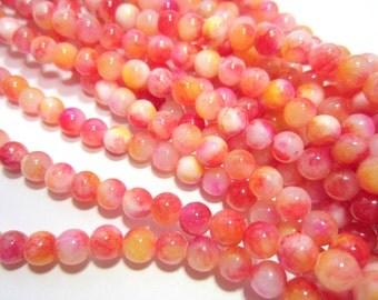 48 Salmon Pink jade beads 6mm dyed stone beads PR04 gemstone beads wrap bracelet making, multi color beads HP(A4)