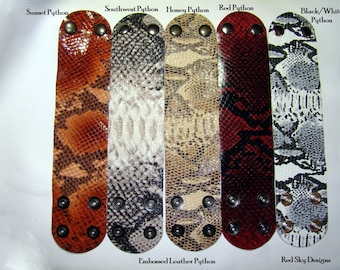 Pack of 5 - PICK YOUR POISON - Leather Supply Cuffs - Embossed Leather - Embossed Gator-  Embossed Snake - Leather Jewelry - Leather Cuffs