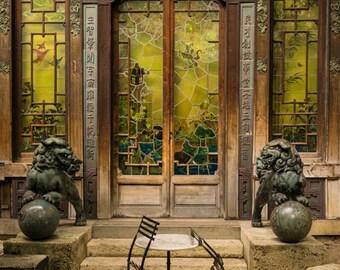 Photo of a gorgeous door in Paris, Decor Asian Architecture Paris Photograph Green France Print Wall Art par116