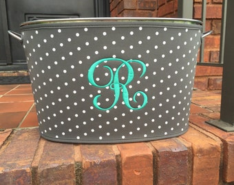 Monogrammed Grey & White Polka Dot Beverage Bucket (cover is removable and reversible); Makes a great wedding/housewarming gift
