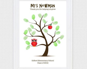 teacher appreciation fingerprint tree - printable file - gift for the teacher, teacher thank you classroom gift, apple owl, personalized diy