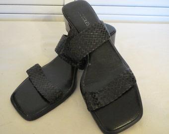 vintage Black Leather High Heel Sandals by Aerosoles - size 10 medium