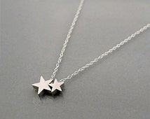 Silver Star Necklace, dainty necklace, sterling chain, small charm pendant, mom love kid, baby, family jewelry, holidays gift, B9studio