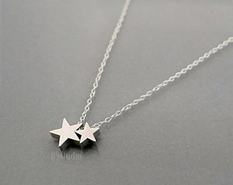 Silver star necklace, mother 1 2 3 babies, dainty small charm, Family jewelry, mama star kid stars, love  mom, holidays gift, B9studio