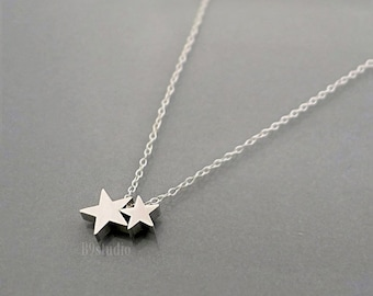 Silver star necklace, mother necklace gift, dainty small charm, Family jewelry, mama star baby stars, mom love kid, holidays gift, B9studio
