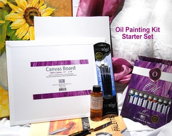 Painting Kit, Oil painting supplies,  Oil Paint set, artists Gifts, Paint with oils, Starter set, brushes, paint, canvas panels,