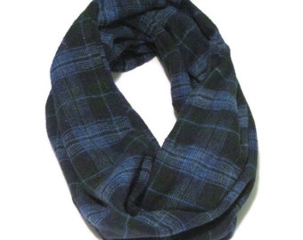 Blue Green Plaid Flannel Circle Scarf Infinity Scarf Loop Scarf Mens Womens