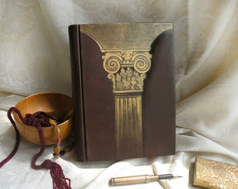 large victorian leather journal - hand painted large blank book - aged paper - old style binding - art journal