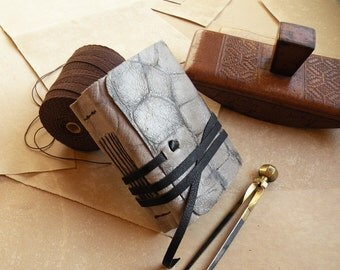 Small leather journal with vintage style paper - gray leather journal - The brightest day