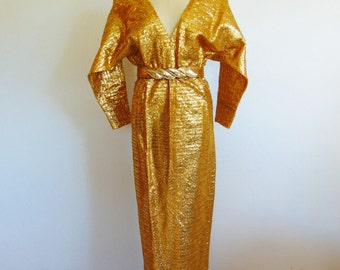 60s GOLD Lame VIVA La Vegas evening gown size medium