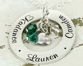"""Christmas in July 20%off- Personalized Necklace - Mother Necklace - 1"""" personalized loop necklace with sideways heart charm and up to 5 birt"""