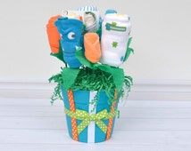 Baby Clothes Bouquet, Baby Boy Gift Basket, Baby Shower Gift, Unique Baby Gift Made of Bodysuits, Pants, Bib, Burp Cloth, Socks & More!