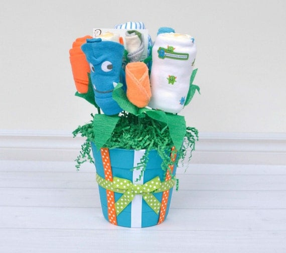 Monster Baby Gift, Baby Boy Gift Basket, Baby Shower Gift, Unique Baby Gifts, Baby Clothes Bouquet, Hospital Baby Gift, Flowers for Newborn